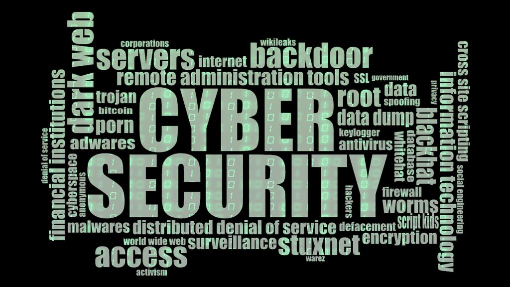un nuage de mots-clés sur la cyber sécurité