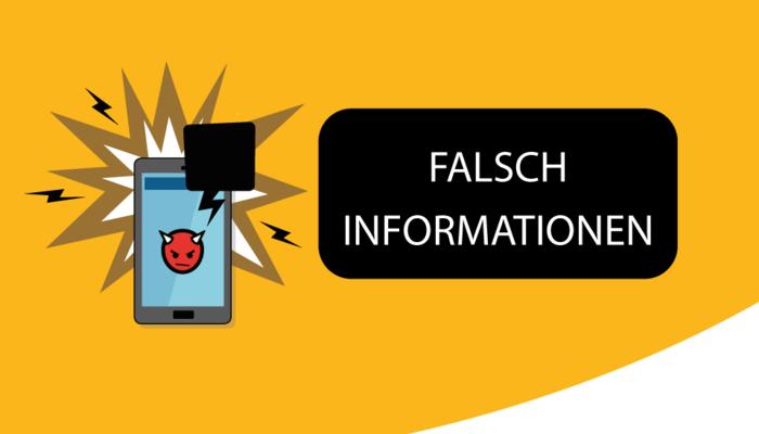 """Illustration von einem Smartphone auf dem ein Teufel-smiley abgebildet ist. Text: """"Falsch Informationen"""""""