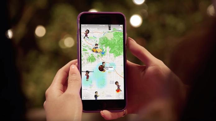 sur un smartphone on voit la snap map avec la localisation de ses amis