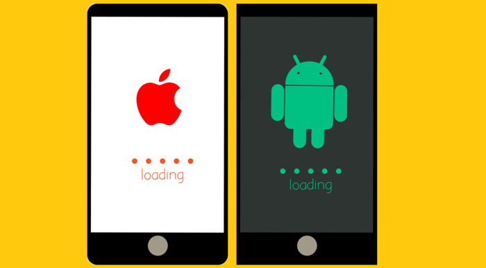 """Illustration avec deux smartphones et leurs systèmes d'exploitation. Le logo Apple d'un côté, le logo Android de l'autre et un signe """"charger"""" à chaque fois"""