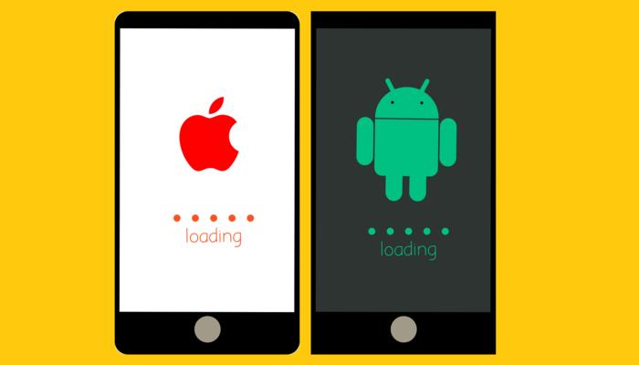 """Illustration mit zwei smartphones und ihren Betriebssystemen. Auf dem einem das Apple-Logo auf dem anderen das Android-Logo und jedes mal ein """"Laden"""" Zeichen"""