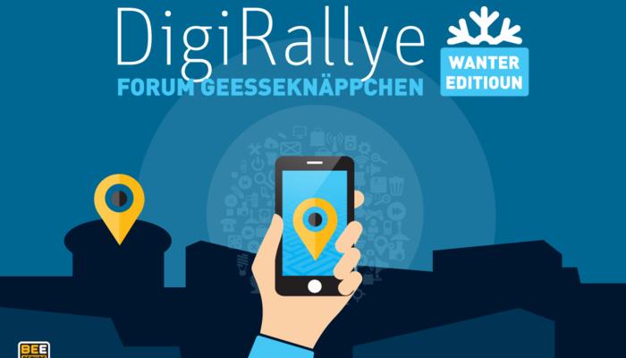 Flyer DigiRallye - Hand mit einem Handy in der Hand, auf dem Bildschirm das Standortzeichen. Im Hintergrund sieht man das Standortzeichen im realen Umfeld.