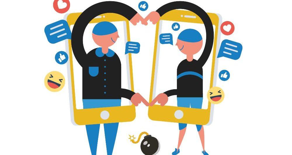Illustration de deux personnes qui font un cœur avec les bras à l'intérieur d'un smartphone