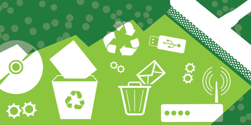 Illustration d'un nettoyage digital fond vert, objets blancs
