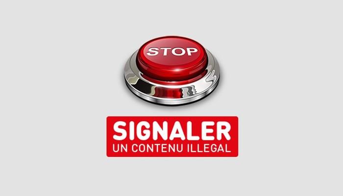 Ein Knopf auf dem STOP steht