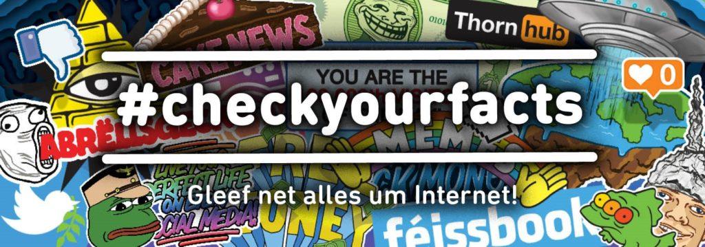 Farbenfrohe Illustration der BEE SECURE-Kampagne #checkyourfacts zur Desinformation