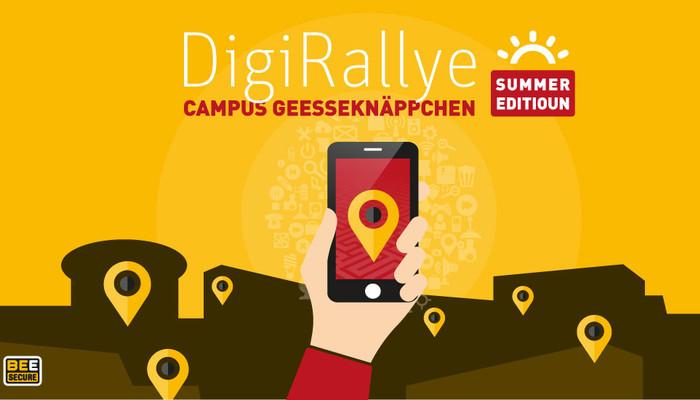 Illustration der DigiRallye: eine Hand, die ein Smartphone auf einem gelben Hintergrund hält mit Ort-symbolen
