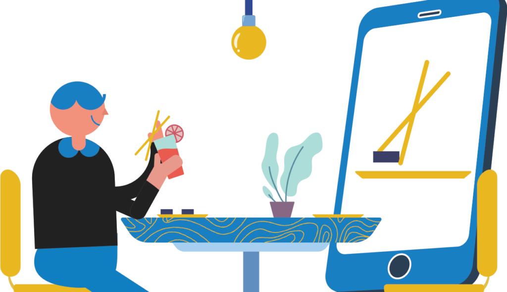 Illustration d'une personne en train de prendre son repas avec un smartphone géant en face d'elle