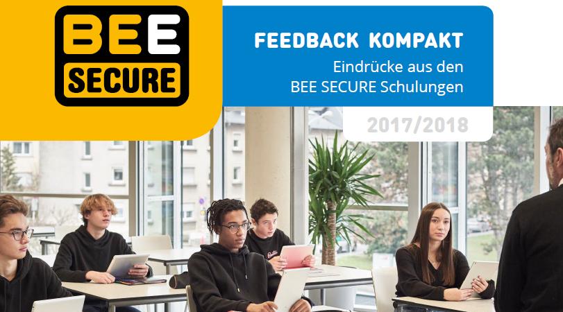 Titelbild des Berichts mit Schülern, die an ihren Schulbanken sitzen und dem BEE SECURE-Trainer zuhören