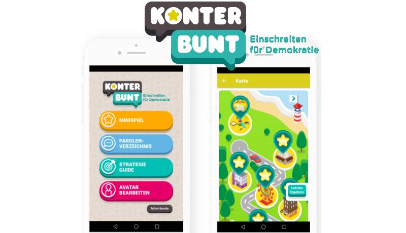 Illustration d'un smartphone avec l'application Konterbunt à l'écran
