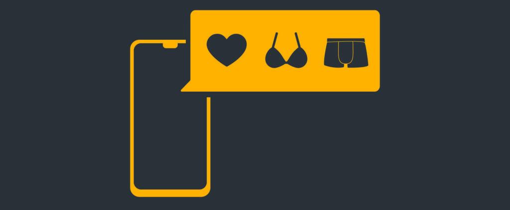 Illustration von einem Smartphone und einer Nachrichtenblase wo ein Herz und Unterwäsche abgebildet sind