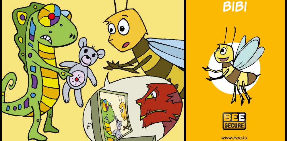 illustration montrant l'abeille Bibi utilisant un jouet connecté