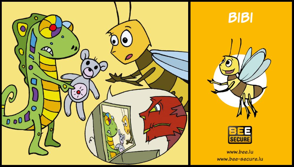 Abbildung der Bibi-Biene mit einem vernetzten Spielzeug