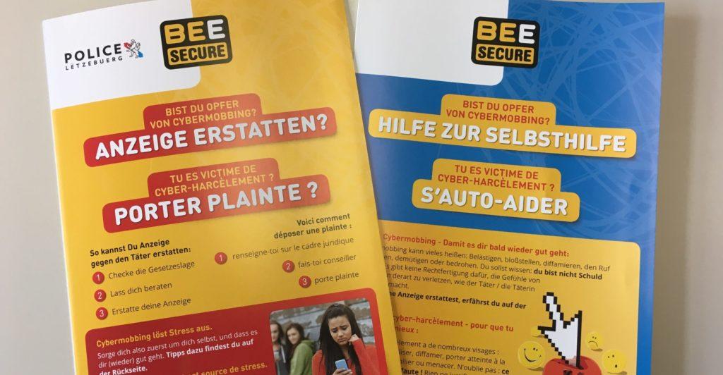 Photo du guide BEE SECURE sur le cyberharcèlement recto-verso