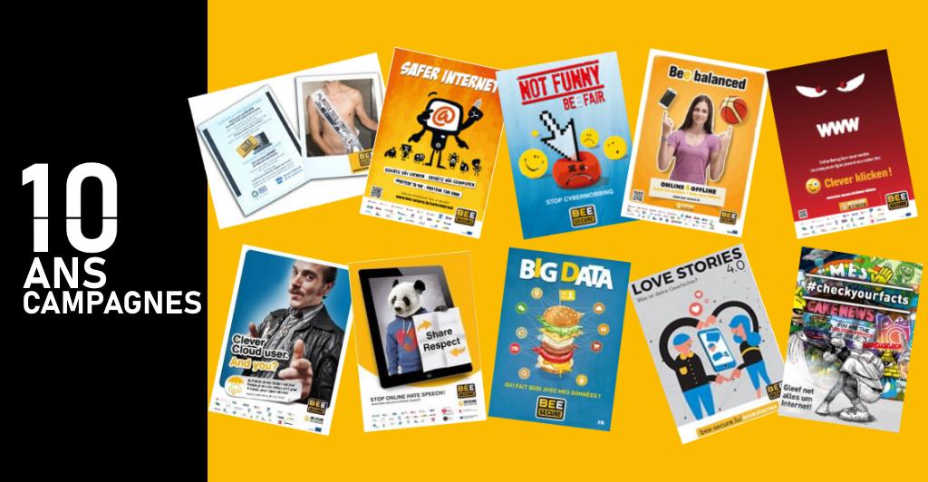 les posters des dix dernières campagnes de BEE SECURE
