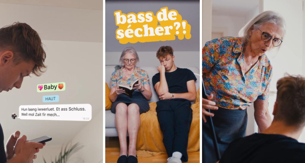 Das Bild ist in 3 Fotos unterteilt: Das 1. Foto zeigt einen Teenager, der Nachrichten auf seinem Handy schreibt, das 2. zeigt eine Großmutter und den Teenager, der auf einem Sofa sitzt, und das 3. zeigt die Großmutter, die den Teenager warnt.