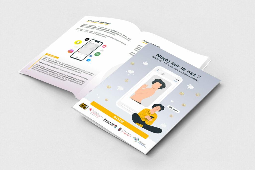 Brochure ouverte qui est un guide au sujet du sexting