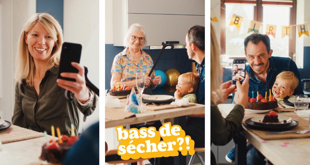 3 Photos: la première montre une maman qui prend un selfie. La deuxième montre une grand-mère avec un bâton en main, la troisième un papa et son enfant sont pris en photo par quelqu'un
