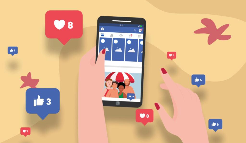 Smartphone affichant la page Facebook avec une photo de famill (personne en maillot de bain)